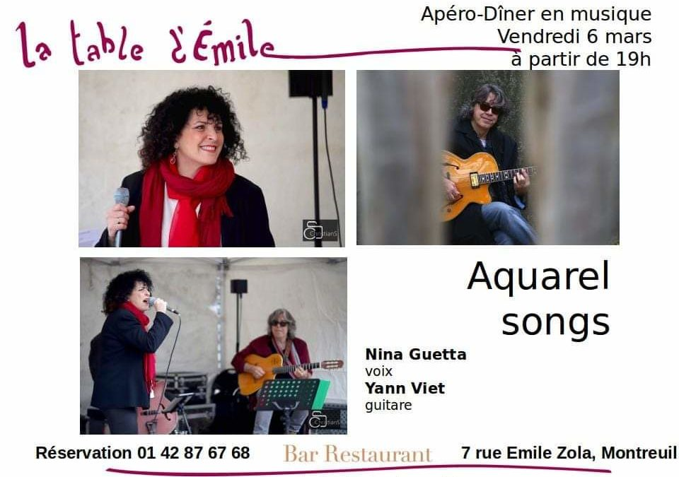 Concert at La Table d'Emile in Montreuil, friday the 06.03.20. French song